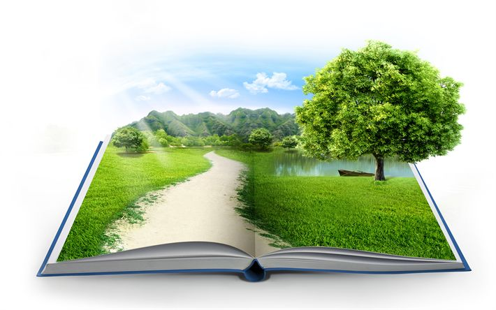 Download wallpapers ecology concepts, 4k, green book, environment, green grass, mountains, take care of nature, eco concepts with a book