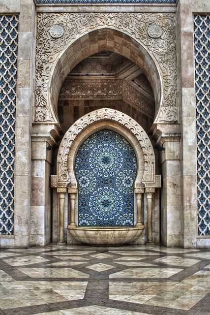 Water fountain at Hassan II mosque in Casablanca, Morocco, by Bionda.romberg, via Flickr