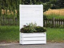 Pflanzkasten Holz mit Sichtschutz, Weiß