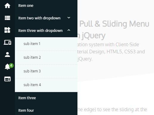 Cross-platform Pull And Slide Navigation - jQuery flat-menu