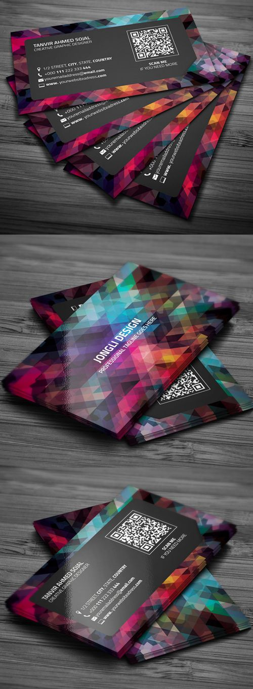 Abstract Business Card Template #businesscards #businesscardtemplates #visitingcards #psdtemplates tarjetas de presentación fragmentos varios colores