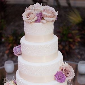 White Round Cake with Lilac Flowers
