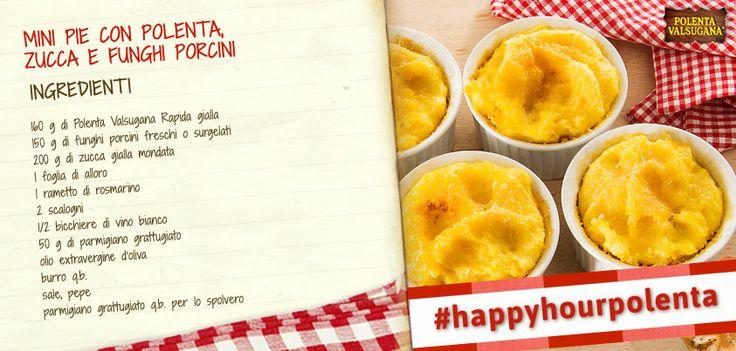 Belle a vedersi… ancora più buone da mangiare, magari in compagnia di amici, per un aperitivo davvero spettacolare! Scopri la ricetta: http://www.polentavalsugana.it/ricette/mini-pie-con-polenta-valsugana-zucca-e-funghi-porcini/