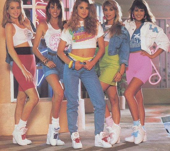The Dress Code: Neon LA Gear is must! Plus spandex, french braids, jellies, lots of neon, Sketchers, high-waisted whitewash jeans, and stirrup leggings!