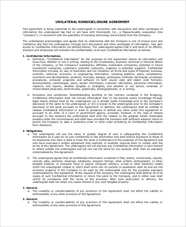 Non Disclosure Agreement Sample Non Disclosure Agreement Legal