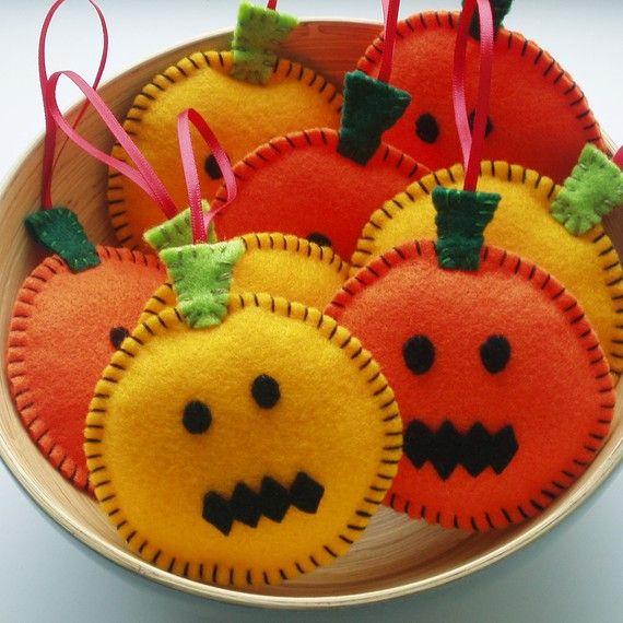 SUPER CUTE SALE Pumpkin Pals Handmade Felt by ilovehearts