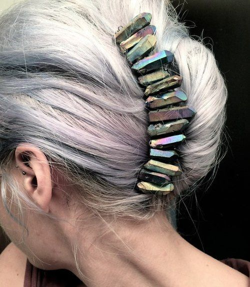 grey french twist with stone banana clip