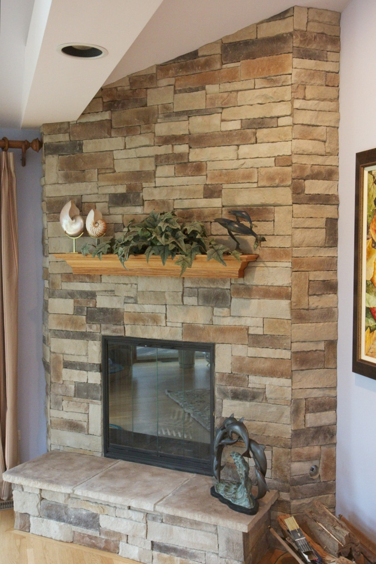 Ledge stone fireplace over drywall with oak mantel and raised hearth project in lake forest il - Fireplace mantel designs in simple and sophisticated style ...