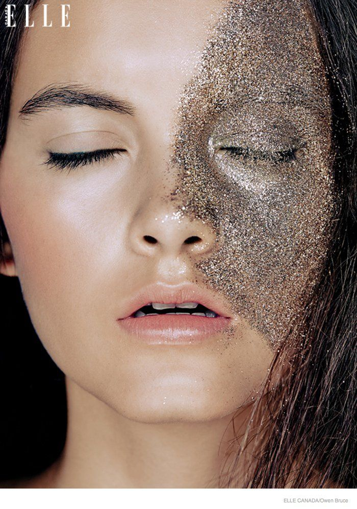 Emma & Ashley Model Glittery Holiday Makeup Looks in Elle Canada