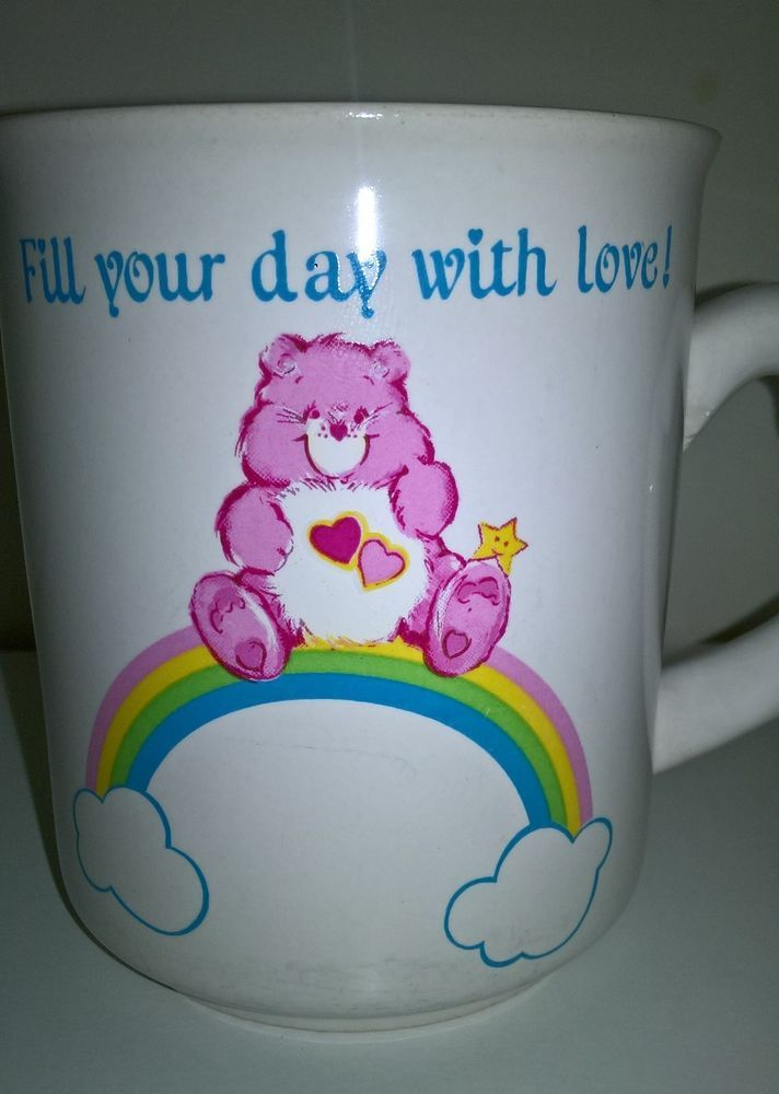 Care Bears Vintage Mug Coffee Tea Cup Rainbow Heart Bear American Greetings  #AmericanGreetings