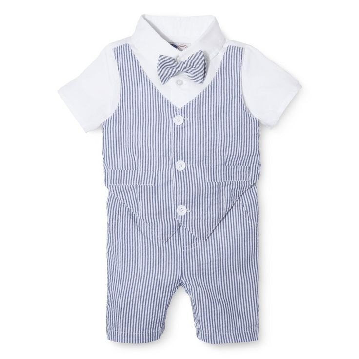 G Cutee  Newborn Boysu0027 Short Sleeve Seersucker Romper   Nautical Blue