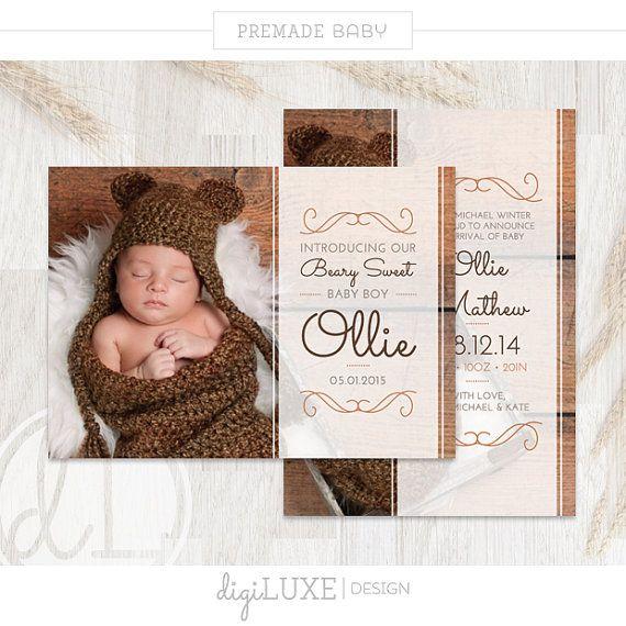 INSTANT DOWNLOAD Geburt Ankündigung Ollie - Baby Ankündigung, Adressaufkleber, Photoshop-Vorlage, druckbare, Baby Boy, Bär, Braun, Herbst