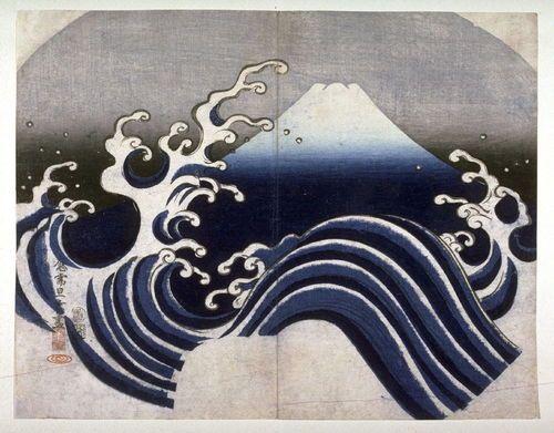 wave linework | Tanka, Mount Fuji and Wave, 1835. Color Woodcut. Publisher Enshuya ...