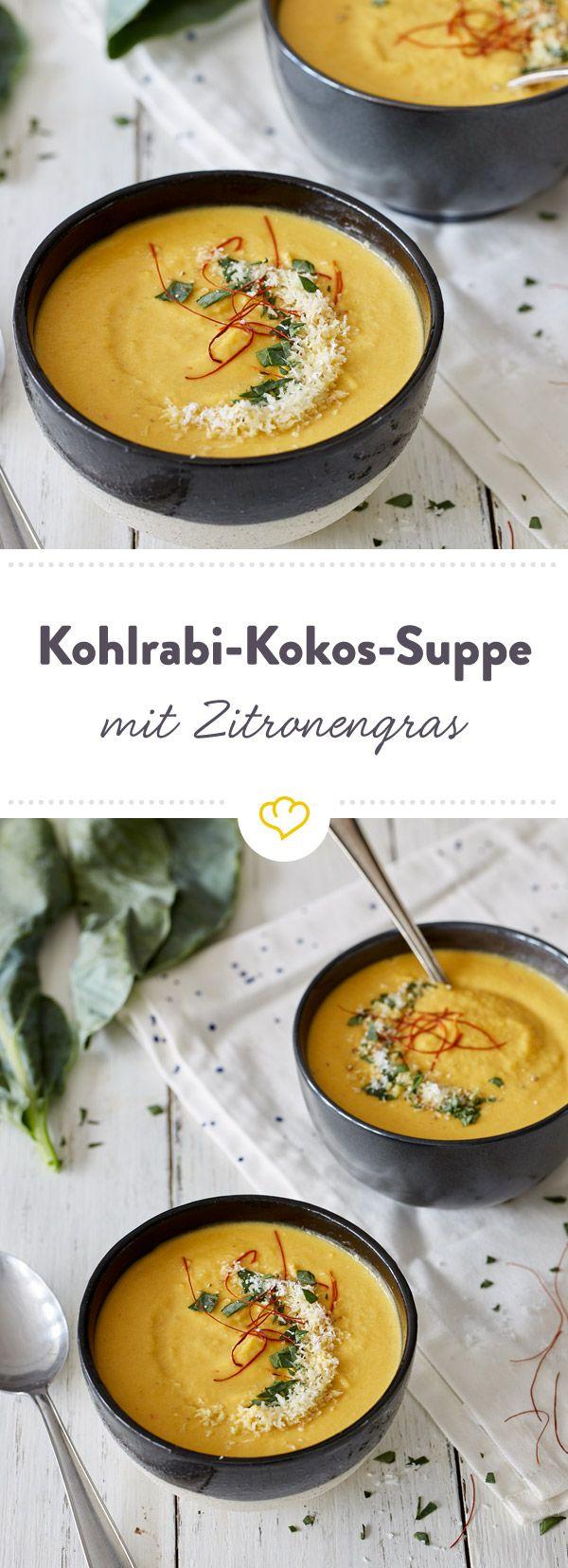 Kohlrabi-Möhren-Süßkartoffel-Ingwer-Chili-Kokos-Suppe mit Zitronengr - ein übertrieben langer Titel für eine übertrieben leckere Suppe..