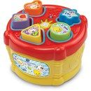 Vtech Baby Sort & Discover Drum $18 Drum and learn with the Sort & Discover Drum. Your little drummer will love dropping the 5 different shaped blocks into the correct opening to learn about shapes, numbers and animals. They can also tap on the lid to hear great drum sounds!