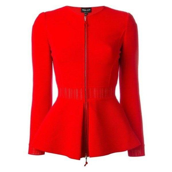 Giorgio Armani Zipped Peplum Jacket ❤ liked on Polyvore featuring outerwear, jackets, coral jacket, zip jacket, zipper jacket, red zipper jacket and red jacket