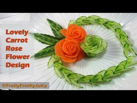 Carrot Rose Sitting On Onion lotus Flower With Great Cucumber Designs - YouTube