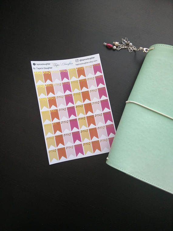 Real gold foil page flag stickers for mambi happy planner