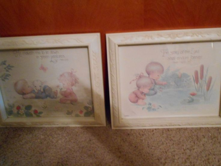 Set of 2 Religious pictures Glory of the Lord, He maketh Vintage Home Interiors