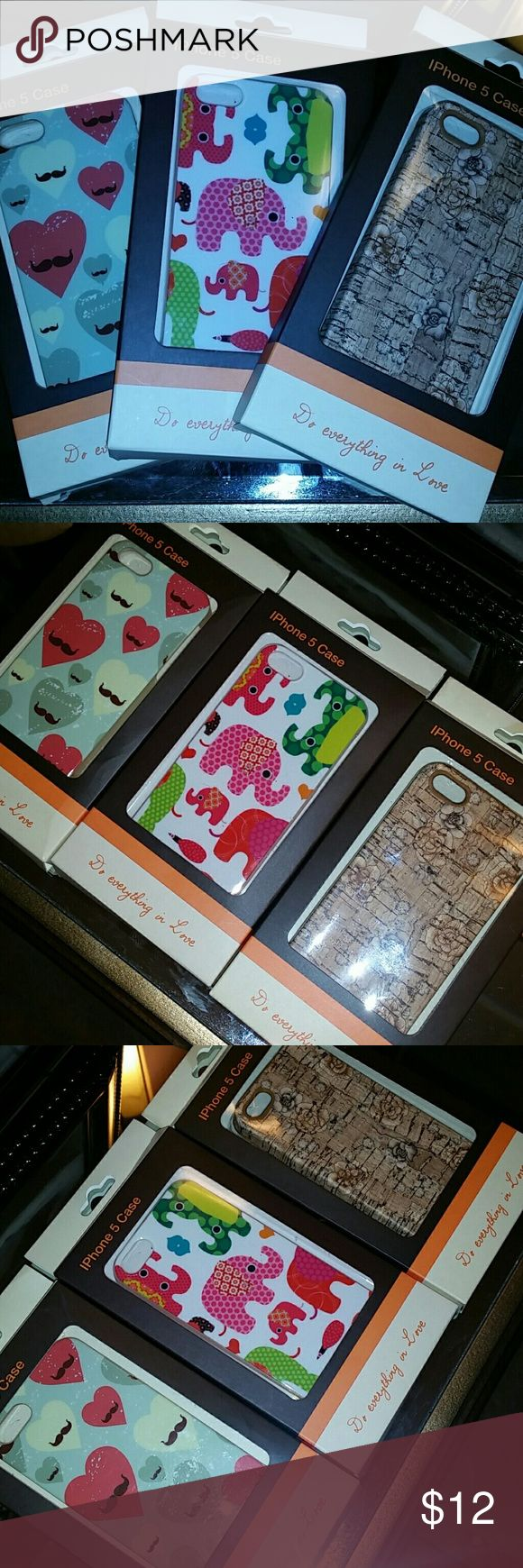 3 IPhone 5 cases BNIB elephants, cork, mustache 3 BNIB IPhone 5 cases for sale. One has boho elephants, one has rustic heart mustaches, and one is cork print with lotus flowers (my FAV!). Cute and trendy! do everything in love Other