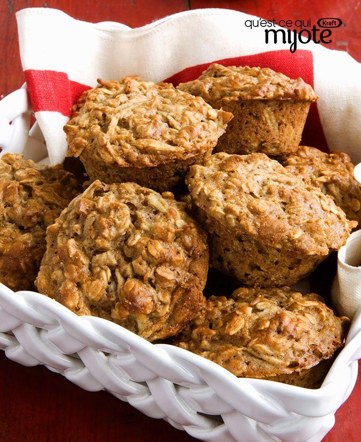 Muffins à l'avoine, aux pommes et à la cannelle #recette