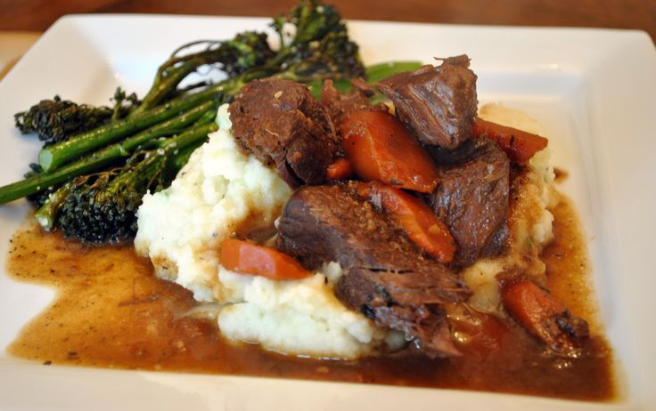 Red Wine-Braised Boneless Beef Country-Style Ribs over Chive Mashed Potatoes