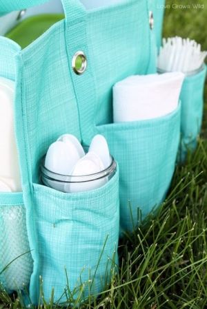 Mason jars fit in the pockets of the thirty one organizing utility tote for holding picnic supplies! by madelinem