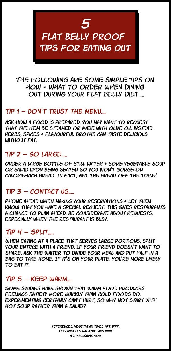 5 #flatbellytips for eating out - 5 ways to stop dining-out disasters from torpedoing your #flatbellydiet https://www.pinterest.com/pin/377880224962946698/