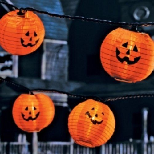 Sylvania Halloween Light Set Fabric Pumpkin Lights 10 Jack-o-lanterns by Sylvania. $14.12. 10 pumpkin ligths. Black wire. 9 feet lighted length. Indoor/outdoor use. Ten orange fabric pumpkin lights with different faces.  They will be a perfect addition to your Halloween decorations.