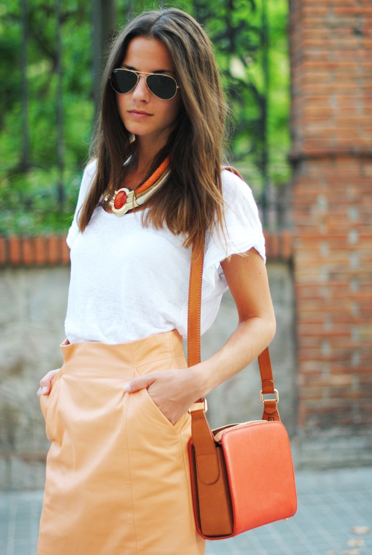 //: Work Clothing, White Tees, White T Shirts, Orange You Glad, Color, Leather Skirts, Pencil Skirts, Necklaces, Summer Trends