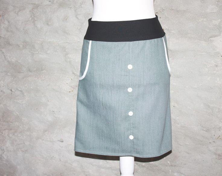 JEANSROCK+skirt+diy sewing+schlichter+Rock+grauer+Rock+maritim+von+Handmade+Erzgebirge+auf+DaWanda.com