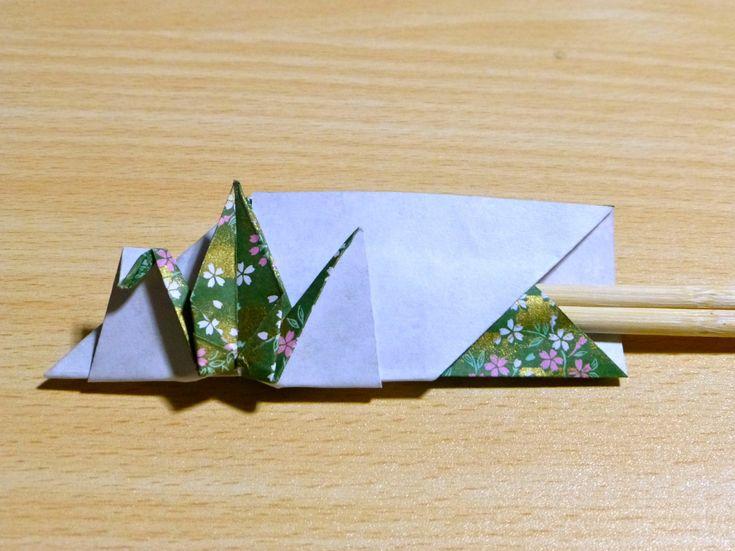 【折り紙】鶴の箸入れの折り方・お正月を豪華に