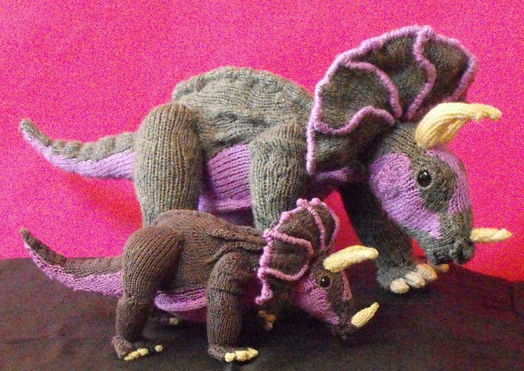 top 5 dinosaur knitting patterns: triceratops toy by mad monkey knits