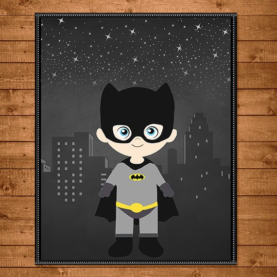 Batman Superhero Wall Art Chalkboard Theme  by NineLivesNotEnough