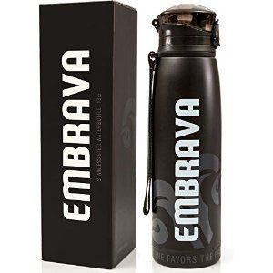 Stainless Steel Water Bottle by Embrava - 18 Ounce - BPA Free - Sweat & Leak Proof w/ One-Click Swing Top Lid - Double Walled and Insulated - Made for Ice Cold Drinks #SportsAndOutdoors http://amzn.to/1XWFvQO