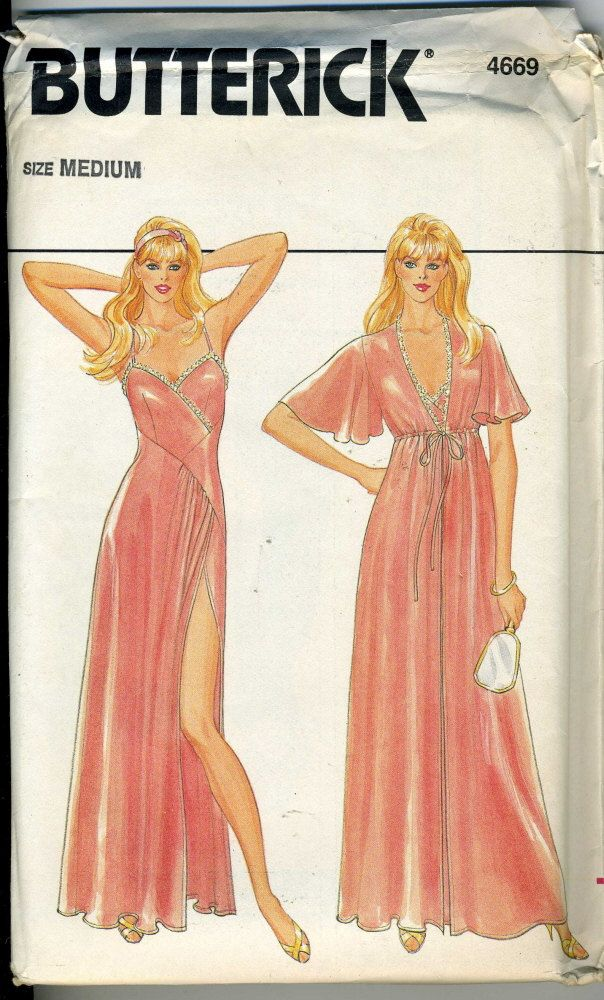 Vintage Butterick 4669 UNCUT Misses Robe, Night Gown Sewing Pattern  Size Medium. $18.00, via Etsy.