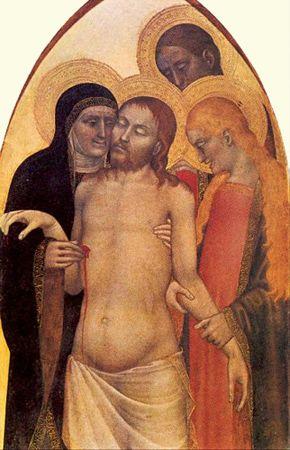이탈리아 피렌체의 Galleria del'Accademia 에서 소장중인, Giovanni da Milano의 피에타 작품. 피렌체 아카데미아 미술관의 가장 데표작은 아무래도 레오나르도 다빈치의 '최후의 만찬'이지만, 이 작품 또한 소장되어 있다. 캔버스에 유화 기법으로 그림. 1365년 작품이라고 알려져 있음. 작품에 등장하는 인물들의 신성성을 강조하기 위해 머리 뒤에 후광을 모두 그려넣은것이 눈에 띈다. 사실적인 묘사 보다 직관적으로 알아차릴 수 있는 그림체를 사용하여 종교화를 표현했다는 것이 한눈에 들어온다. 성모마리아의 얼굴에 그녀의 나이를 가늠할 수 있게끔 그려놓은 것이 눈에 띈다. 특히 미켈란젤로의 피에타 조각상과 비교했을 때 그 차이는 더욱 두드러지게 나타날 것이다.