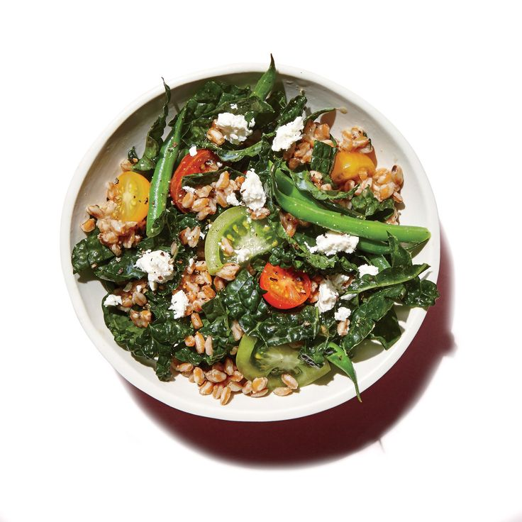 Farro, Green Bean, and Kale Salad | This recipe goes with: Farro Salad Lunch Box