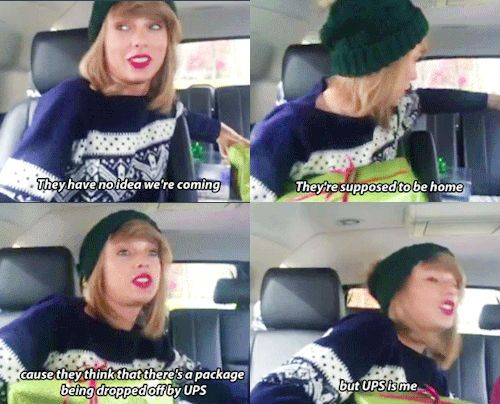 SWIFTMAS <3 (gifset: http://myfearlesstaylor.tumblr.com/post/106728585918/taylor-going-to-surprise-steph-and-leyton)