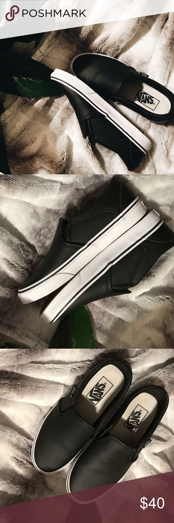 Spotted while shopping on Poshmark: Black leather Vans Slip on sneakers! #poshmark #fashion #shopping #style #Vans #Shoes