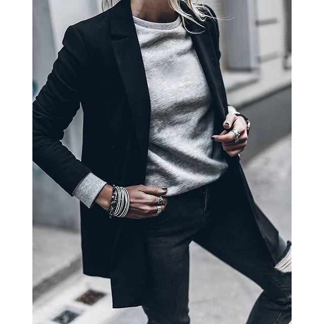 Grey Blazer and sweatshirt! Happy evening!
