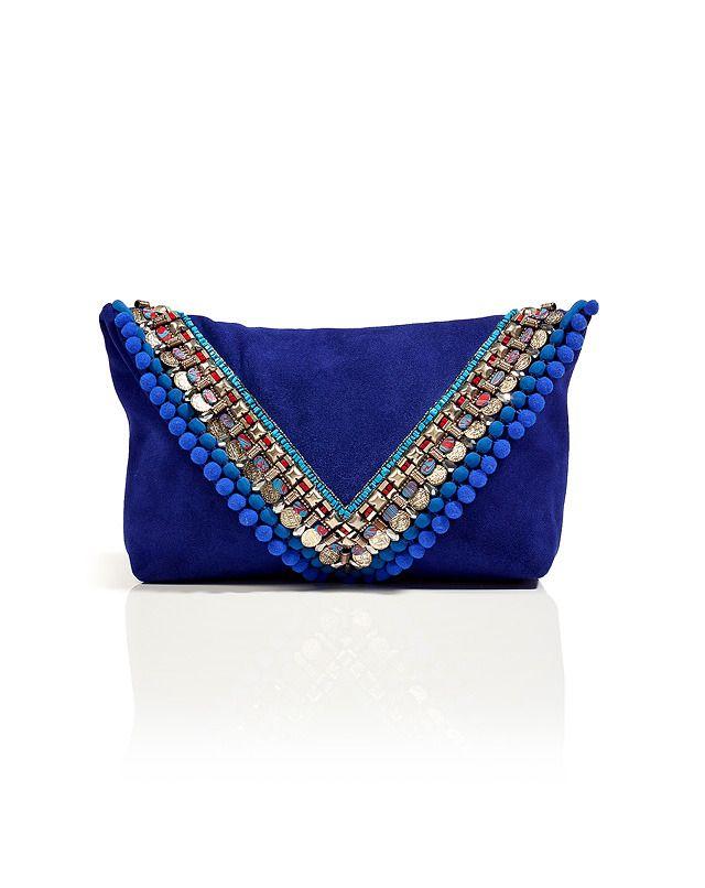 Matthew Williamson electric blue suede embellished clutch