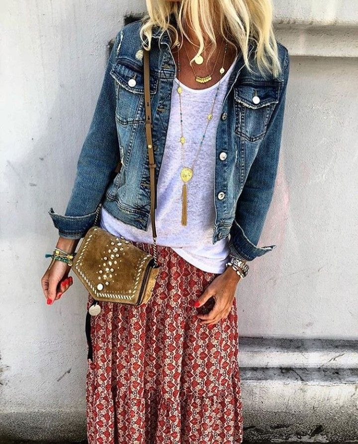 I love the shirt, the skirt, the purse and the jewelry! I already have some denim jackets