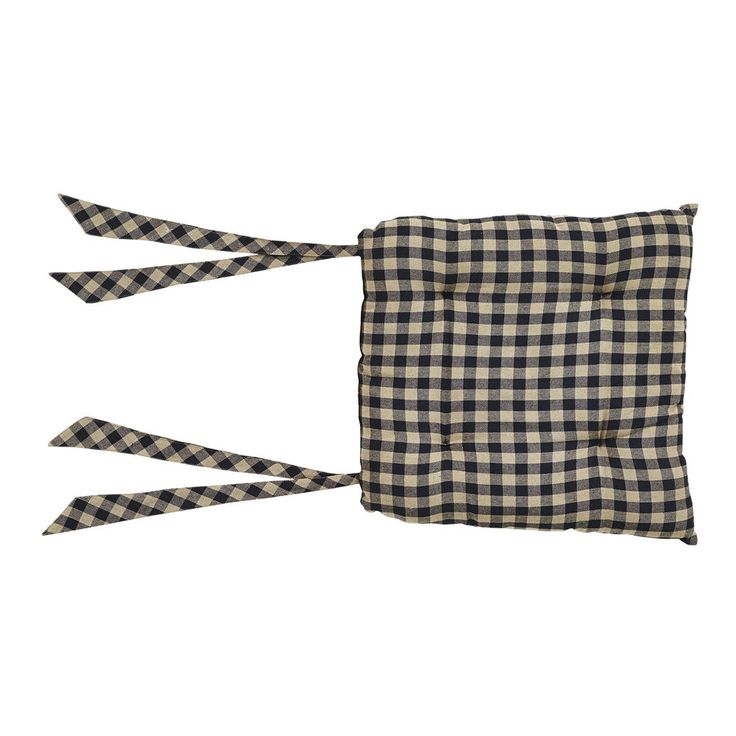 VHC BRANDS BLACK CHECK COUNTRY PRIMITIVE PADDED CHAIR PAD SEAT COVER #5958 #VHCBrands