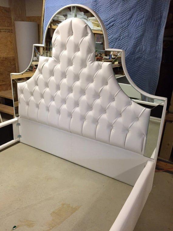 Cama Tapizada Con Espejos Cama King Cama Tapizada Espejos Etsy Tufted Upholstered Bed Headboards For Beds Upholstered Beds