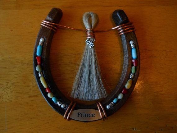 Custom Horseshoe with mane or tail hair -  Beautiful tribute piece