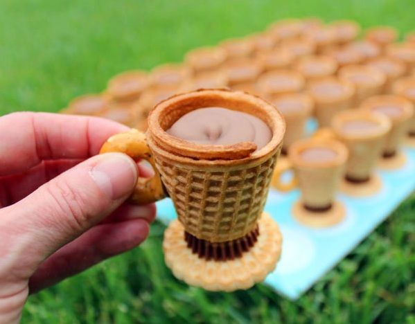 Edible Tea Cups by SheKnows.  Great DIY decorative dessert for a tea or garden party.