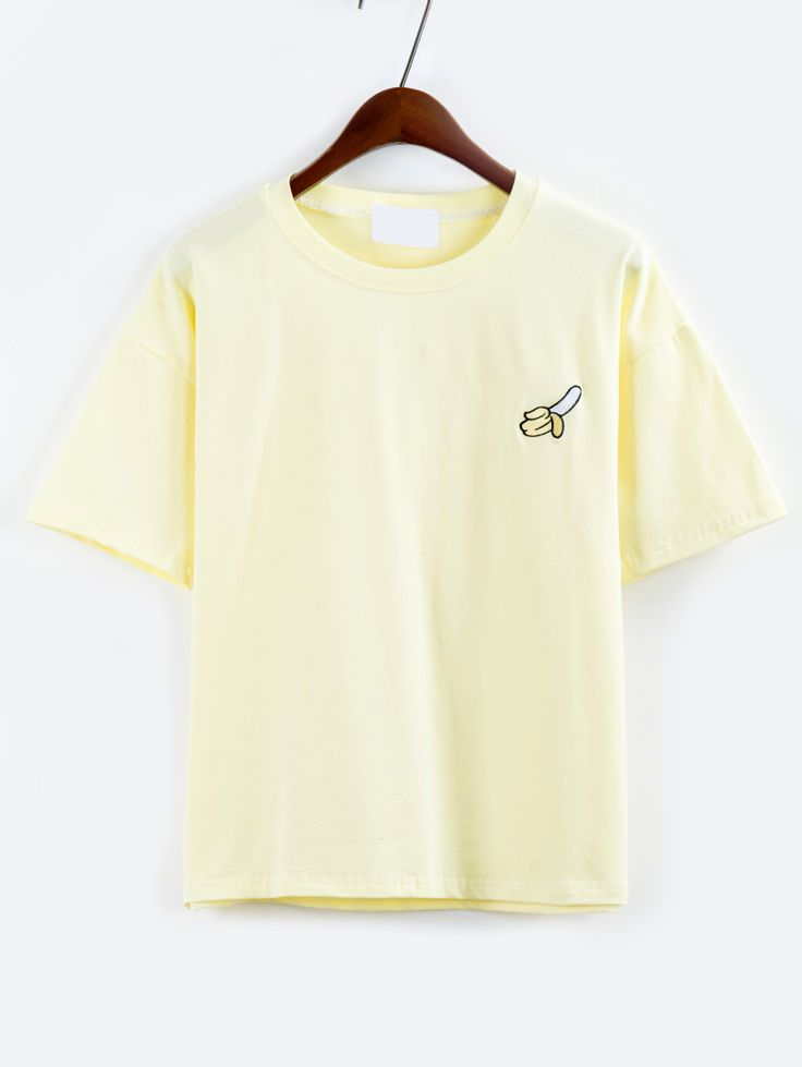 Shop Banana Embroidered Drop Shoulder Yellow T-shirt online. SheIn offers Banana Embroidered Drop Shoulder Yellow T-shirt & more to fit your fashionable needs.