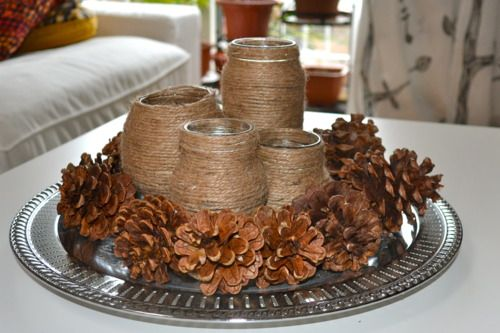 Jars wrapped in twine for Fall decor can be a great table centerpiece. Adding a battery operated light source could only make this display shine that much more.