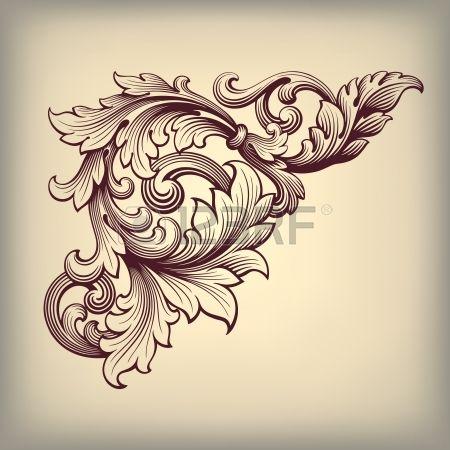 vetor vintage barroco rolagem design do quadro canto padr photo